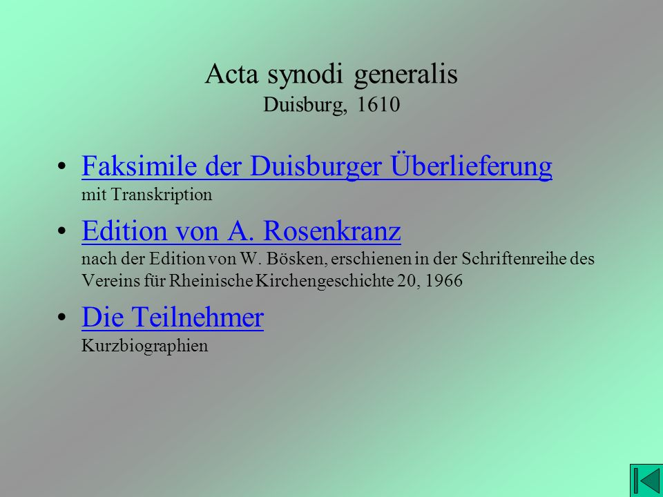 Acta synodi generalis Duisburg, 1610
