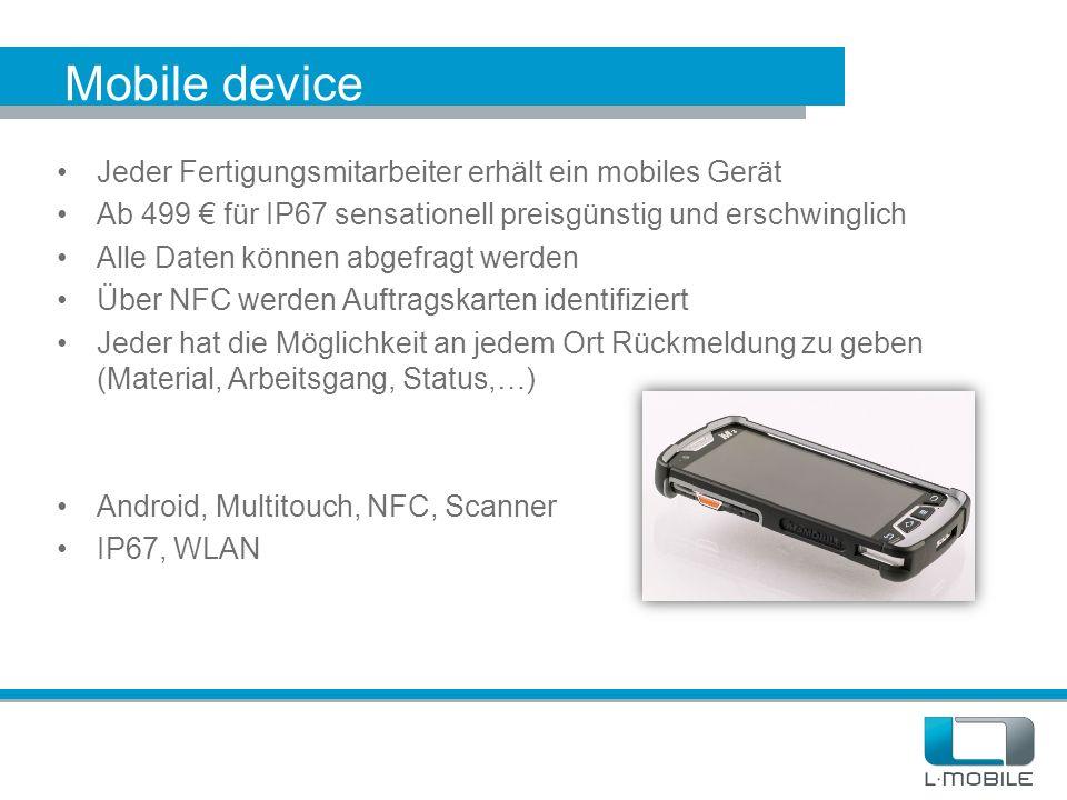 Mobile device Jeder Fertigungsmitarbeiter erhält ein mobiles Gerät