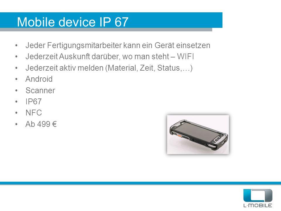 Mobile device IP 67 Jeder Fertigungsmitarbeiter kann ein Gerät einsetzen. Jederzeit Auskunft darüber, wo man steht – WIFI.