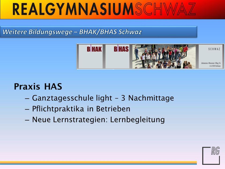 Praxis HAS Weitere Bildungswege – BHAK/BHAS Schwaz