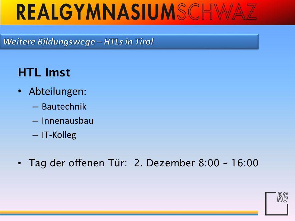 HTL Imst Abteilungen: Weitere Bildungswege – HTLs in Tirol Bautechnik