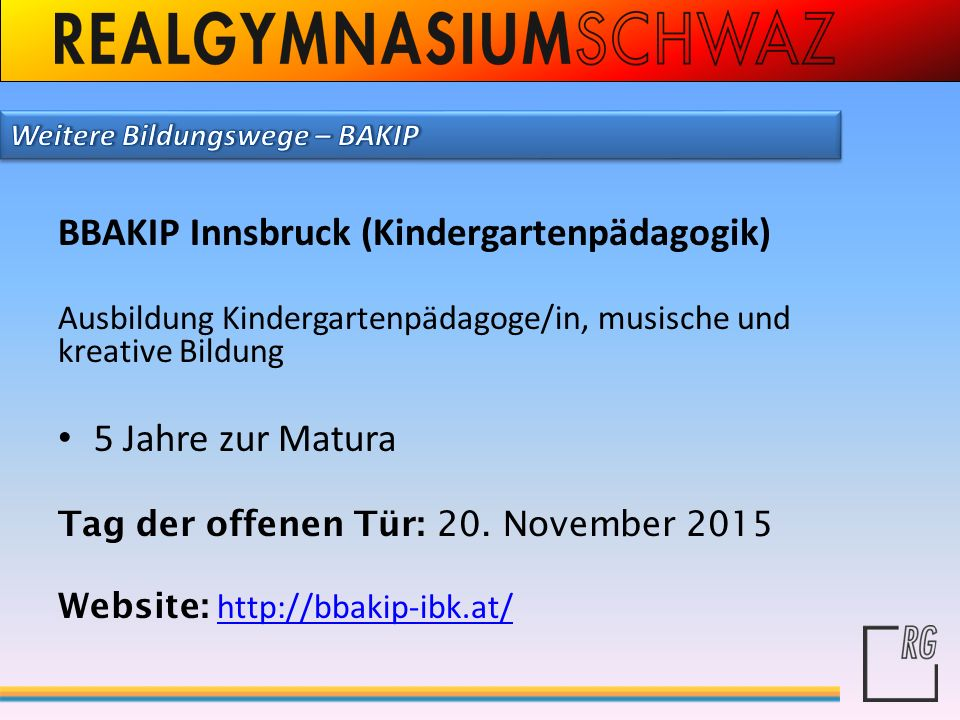 BBAKIP Innsbruck (Kindergartenpädagogik)