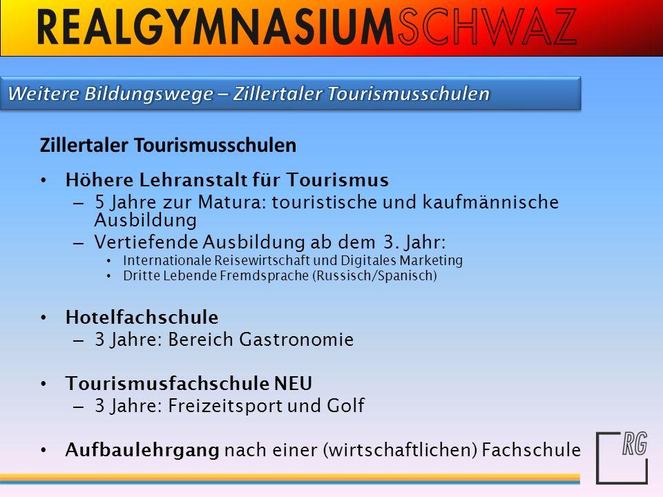 Weitere Bildungswege – Zillertaler Tourismusschulen