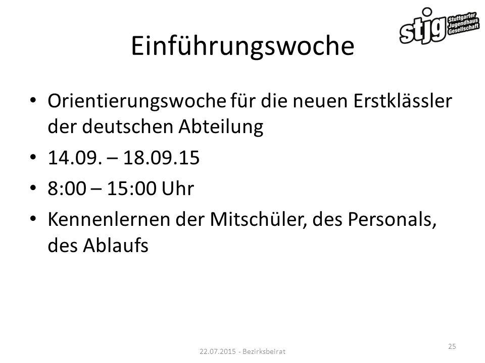 Einführungswoche Orientierungswoche für die neuen Erstklässler der deutschen Abteilung. 14.09. – 18.09.15.