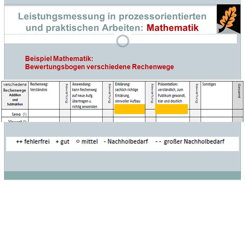 Leistungsmessung in prozessorientierten und praktischen Arbeiten: Mathematik
