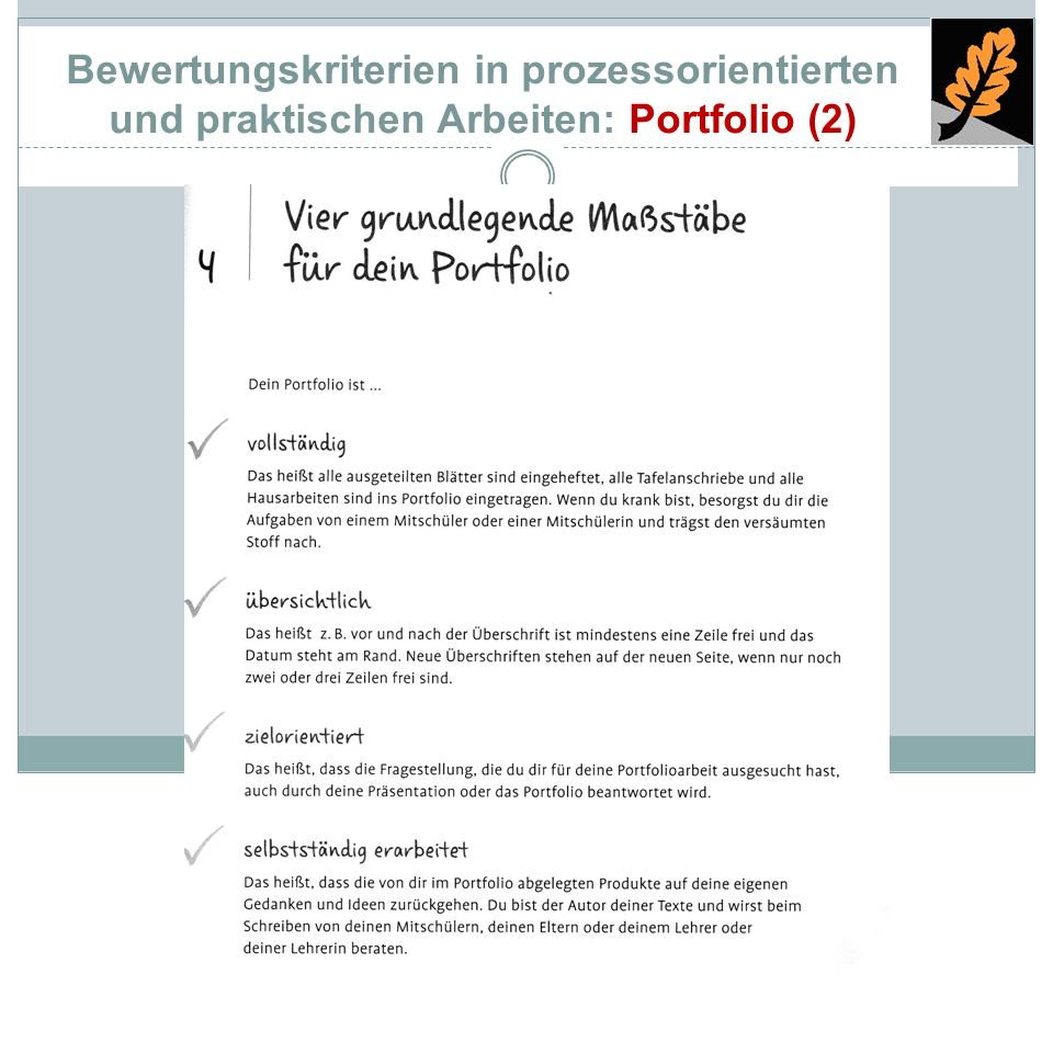 Bewertungskriterien in prozessorientierten und praktischen Arbeiten: Portfolio (2)