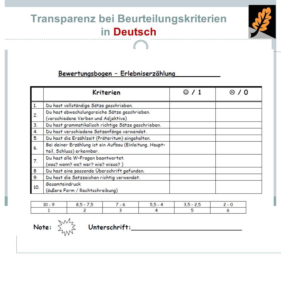 Transparenz bei Beurteilungskriterien in Deutsch