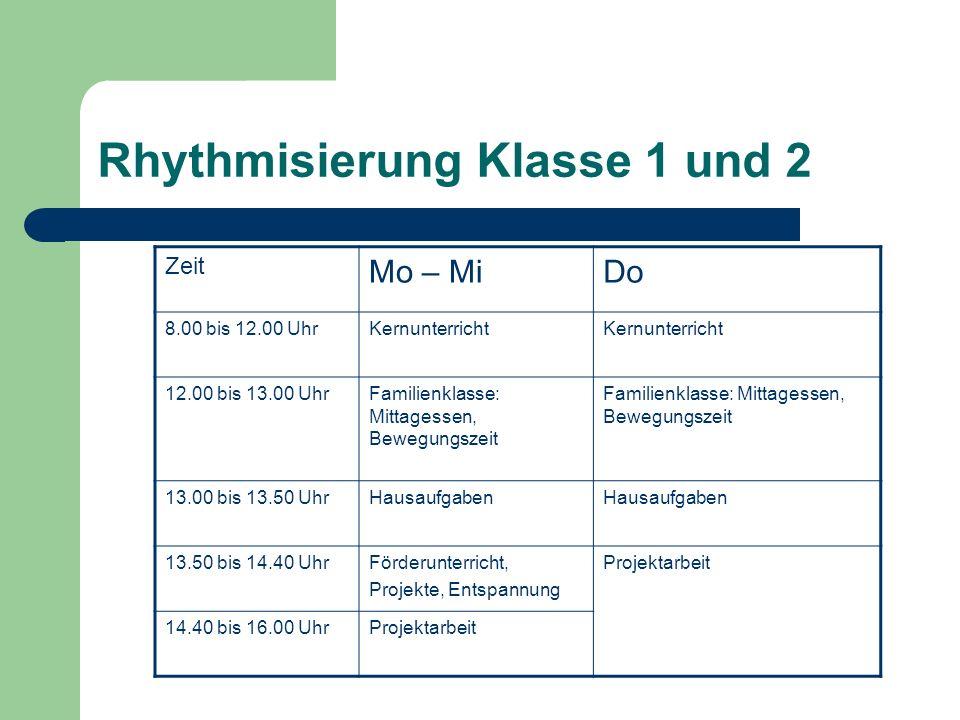 Rhythmisierung Klasse 1 und 2