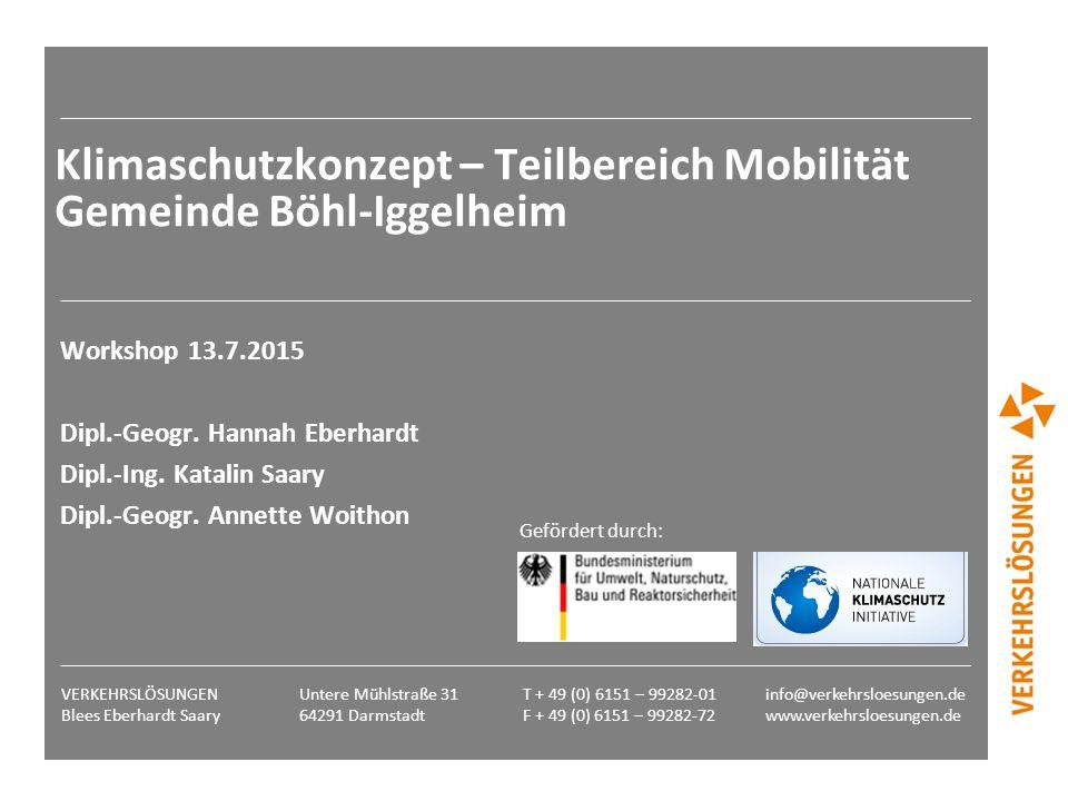 Klimaschutzkonzept – Teilbereich Mobilität Gemeinde Böhl-Iggelheim