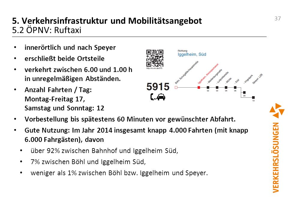 5. Verkehrsinfrastruktur und Mobilitätsangebot 5.2 ÖPNV: Ruftaxi