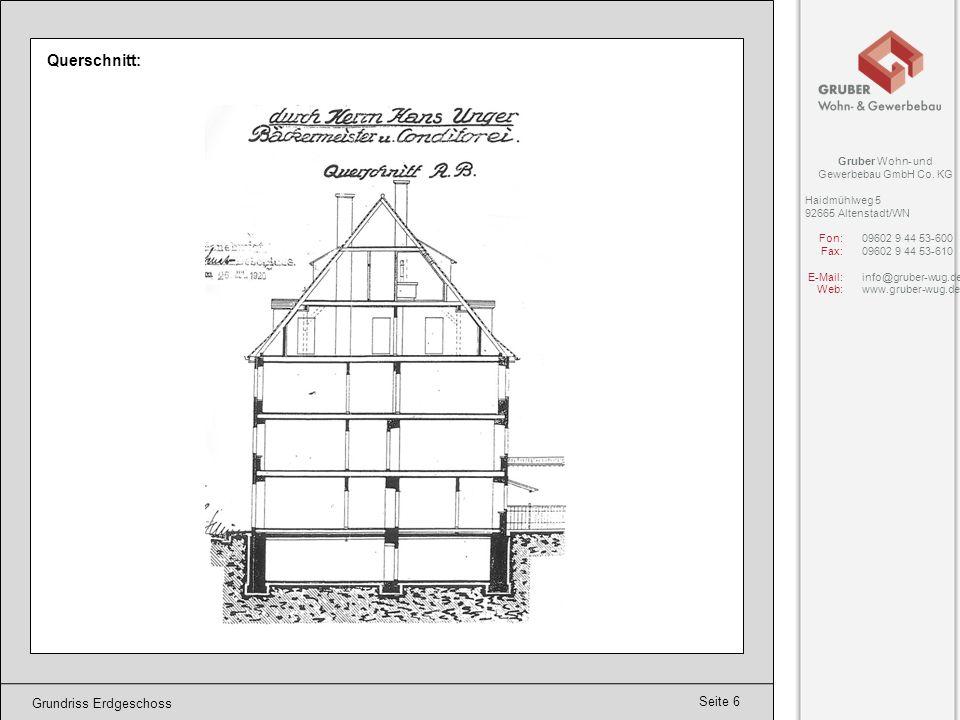 Querschnitt: Grundriss Erdgeschoss Gruber Wohn- und