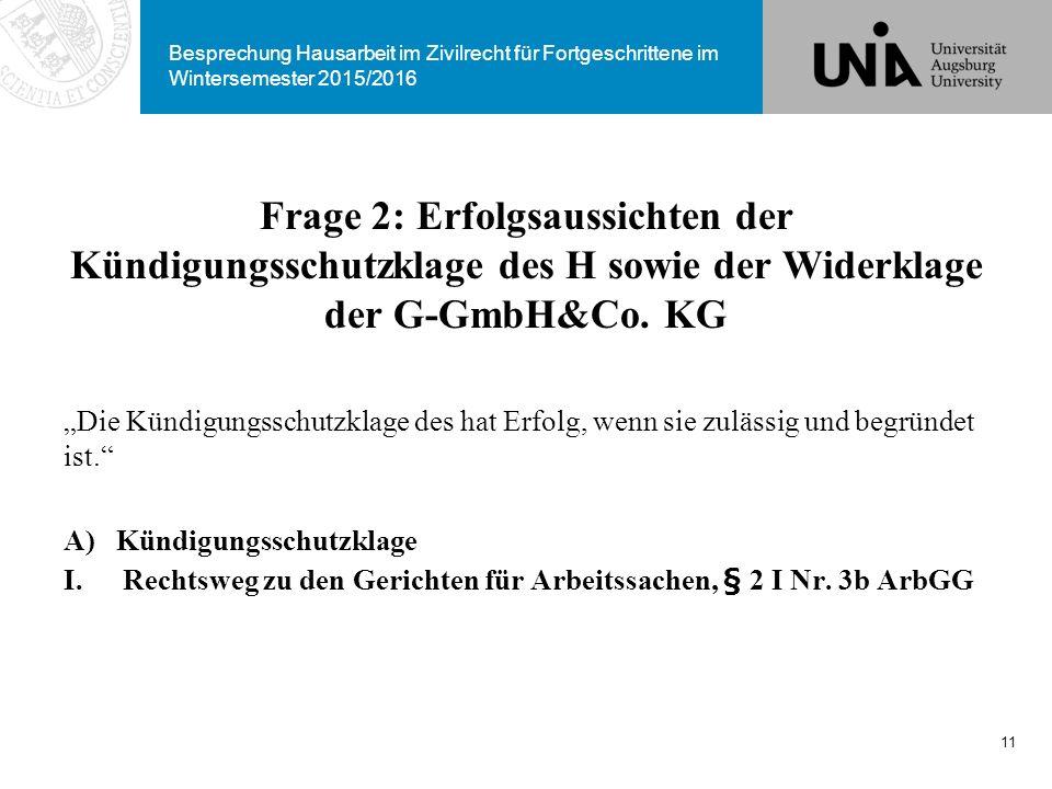 Besprechung Hausarbeit im Zivilrecht für Fortgeschrittene im Wintersemester 2015/2016