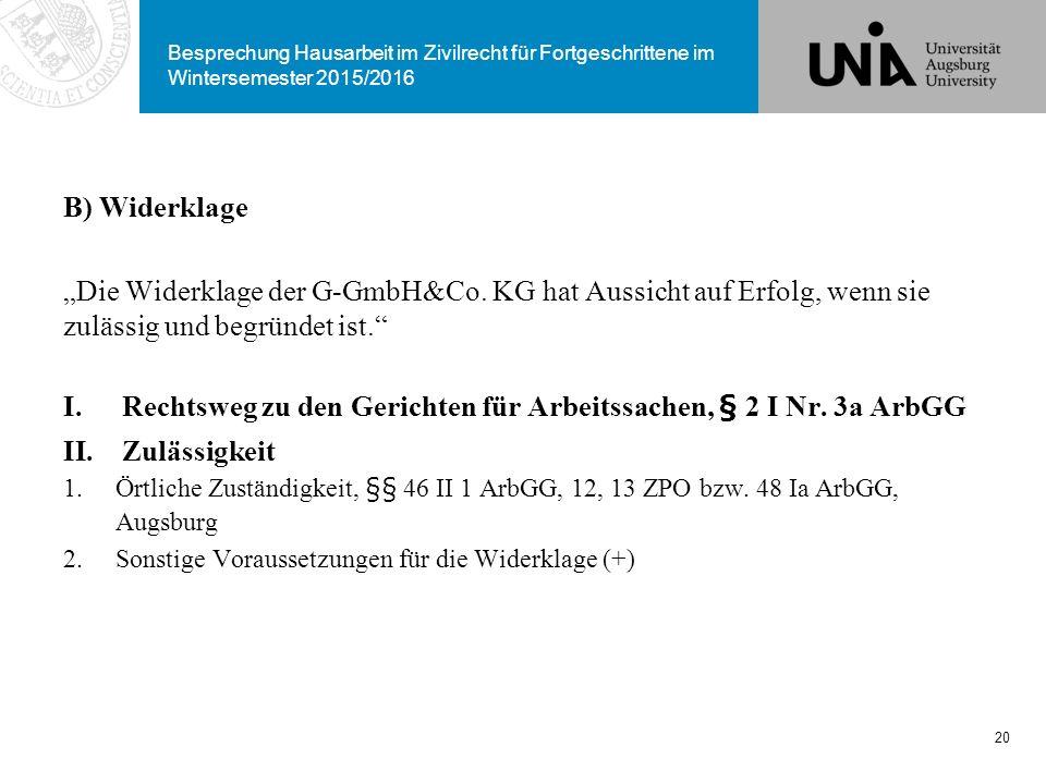 Rechtsweg zu den Gerichten für Arbeitssachen, § 2 I Nr. 3a ArbGG