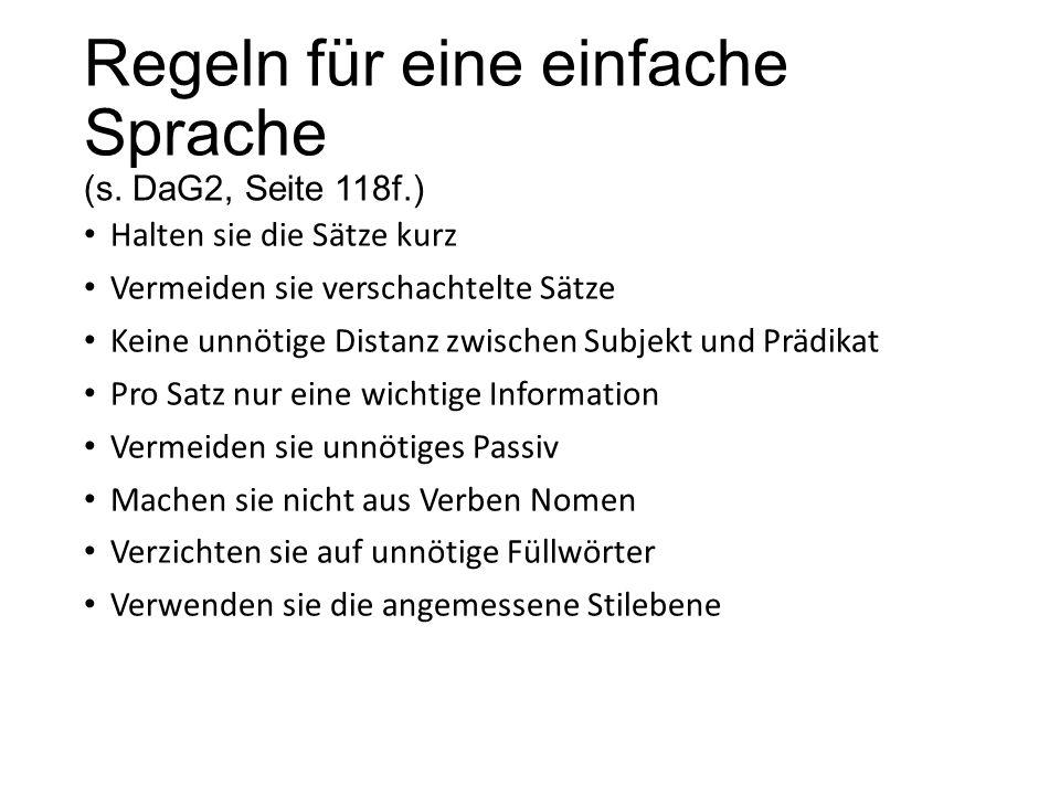 Regeln für eine einfache Sprache (s. DaG2, Seite 118f.)