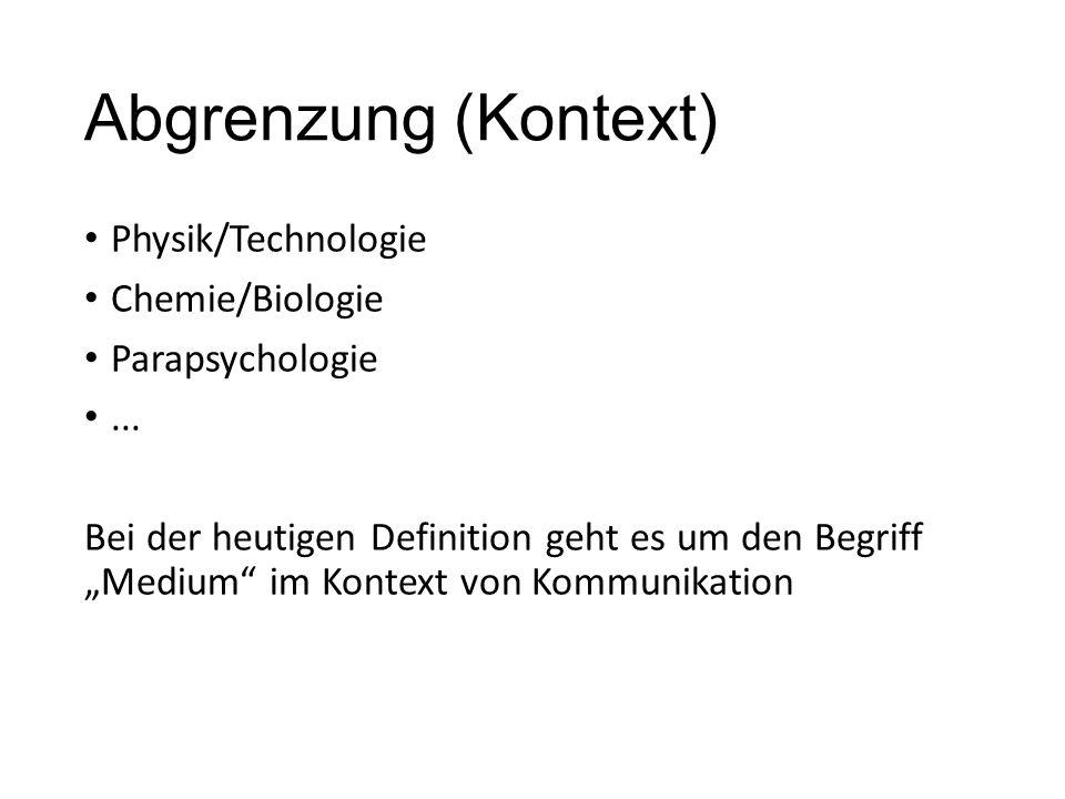 Abgrenzung (Kontext) Physik/Technologie Chemie/Biologie