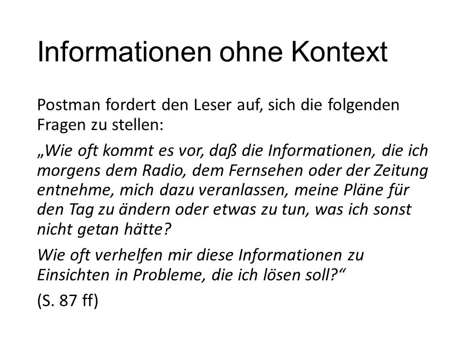 Informationen ohne Kontext