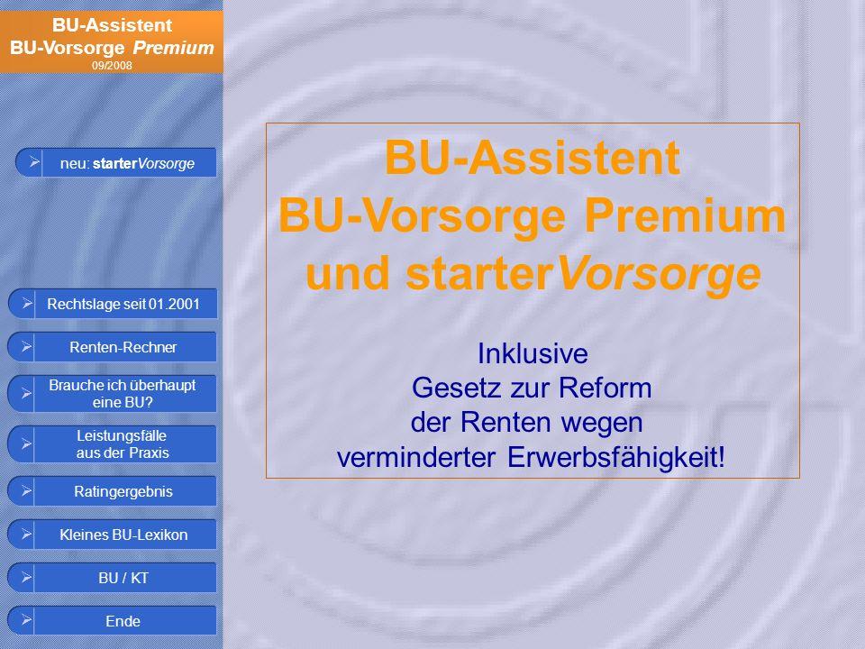 BU-Assistent BU-Vorsorge Premium und starterVorsorge