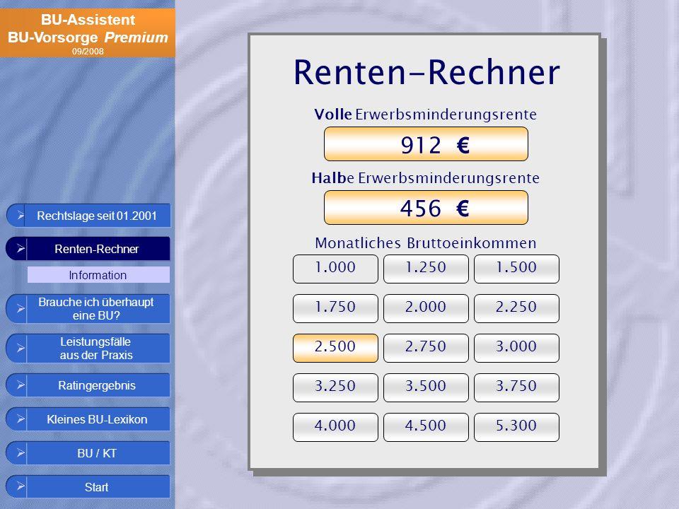 Renten-Rechner 912 € 456 € Volle Erwerbsminderungsrente