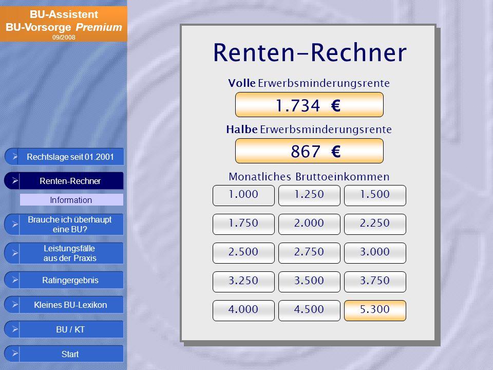 Renten-Rechner 1.734 € 867 € Volle Erwerbsminderungsrente