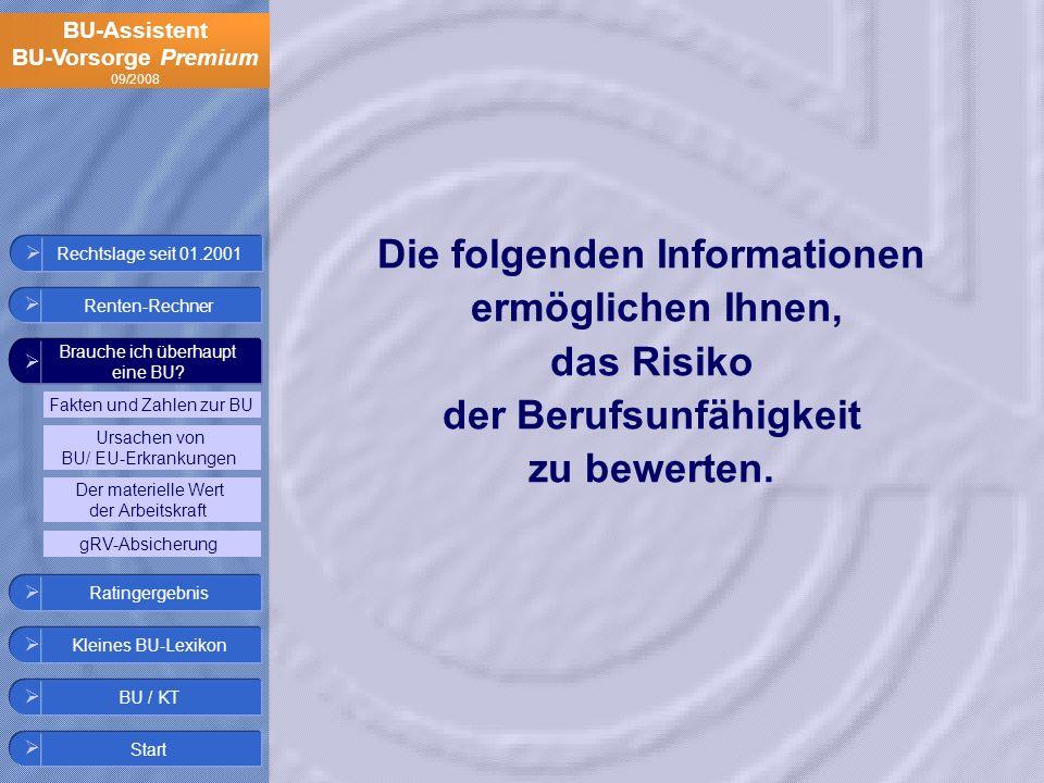 Die folgenden Informationen das Risiko der Berufsunfähigkeit