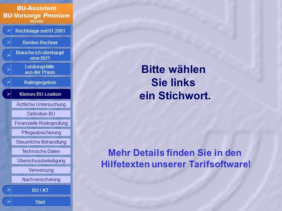 Mehr Details finden Sie in den Hilfetexten unserer Tarifsoftware!