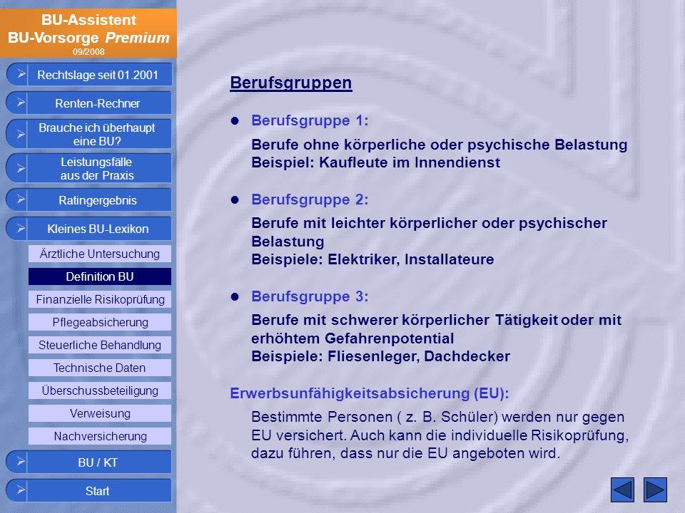 Rechtslage seit 01.2001 Berufsgruppen. Berufsgruppe 1: Berufe ohne körperliche oder psychische Belastung Beispiel: Kaufleute im Innendienst.