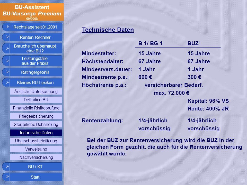 Technische Daten B 1/ BG 1 BUZ Mindestalter: 15 Jahre 15 Jahre