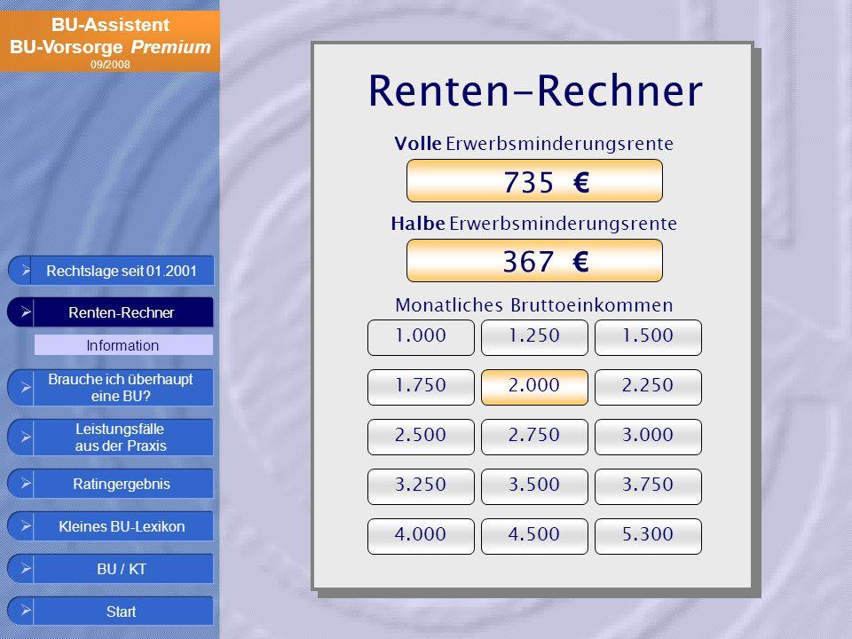 Renten-Rechner 735 € 367 € Volle Erwerbsminderungsrente