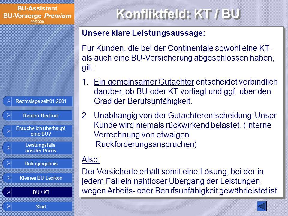 Konfliktfeld: KT / BU Unsere klare Leistungsaussage: