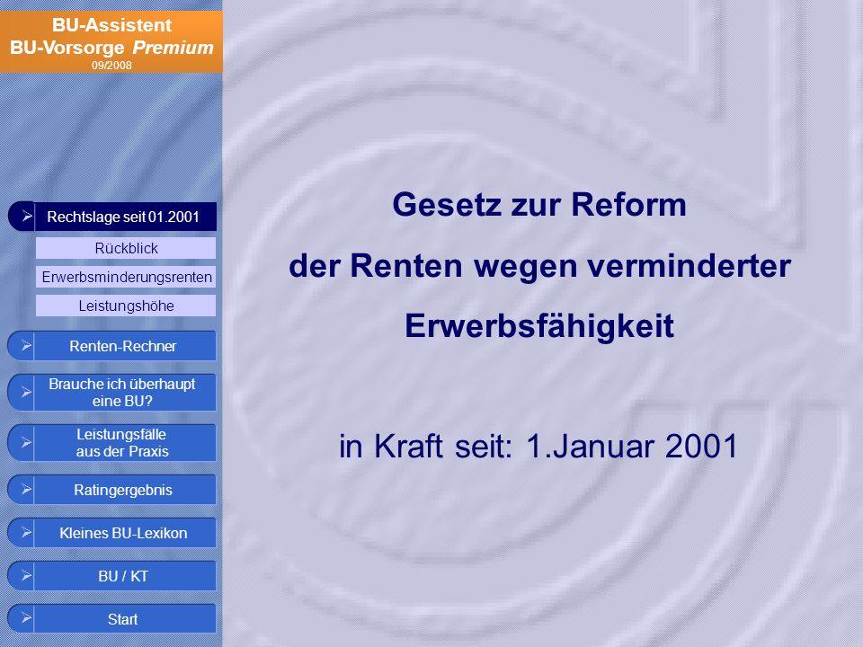 Gesetz zur Reform der Renten wegen verminderter Erwerbsfähigkeit in Kraft seit: 1.Januar 2001
