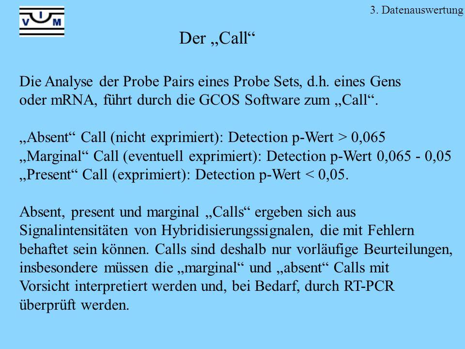 """3. Datenauswertung Der """"Call Die Analyse der Probe Pairs eines Probe Sets, d.h. eines Gens. oder mRNA, führt durch die GCOS Software zum """"Call ."""