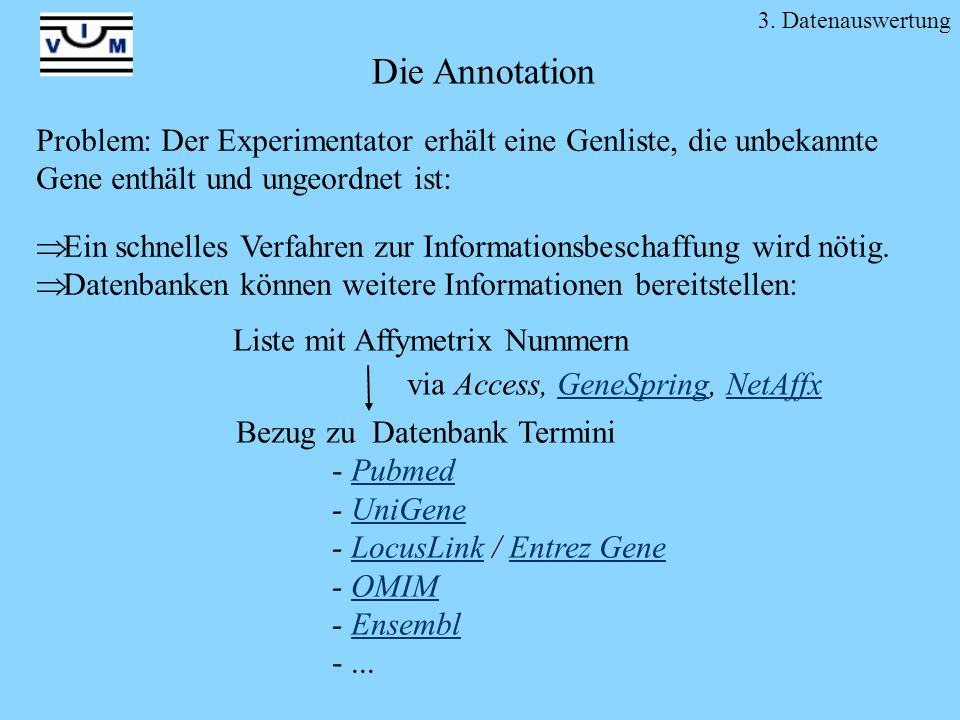 3. Datenauswertung Die Annotation. Problem: Der Experimentator erhält eine Genliste, die unbekannte Gene enthält und ungeordnet ist:
