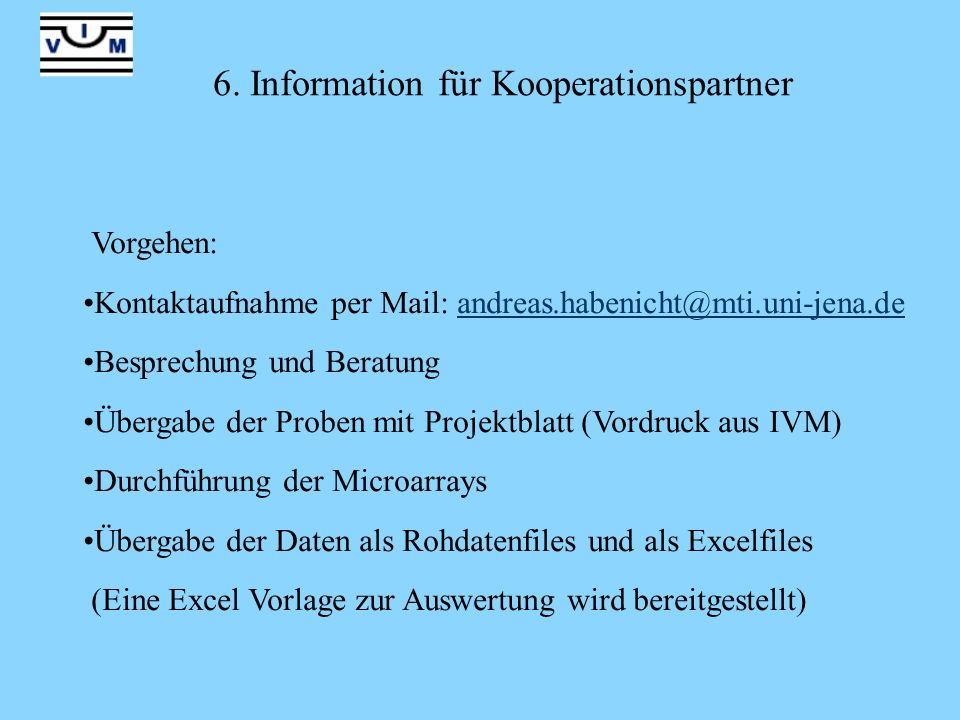 6. Information für Kooperationspartner