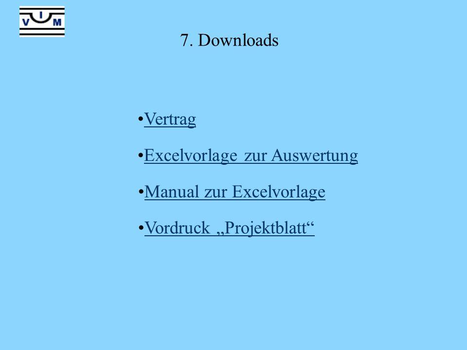 """7. Downloads Vertrag Excelvorlage zur Auswertung Manual zur Excelvorlage Vordruck """"Projektblatt"""