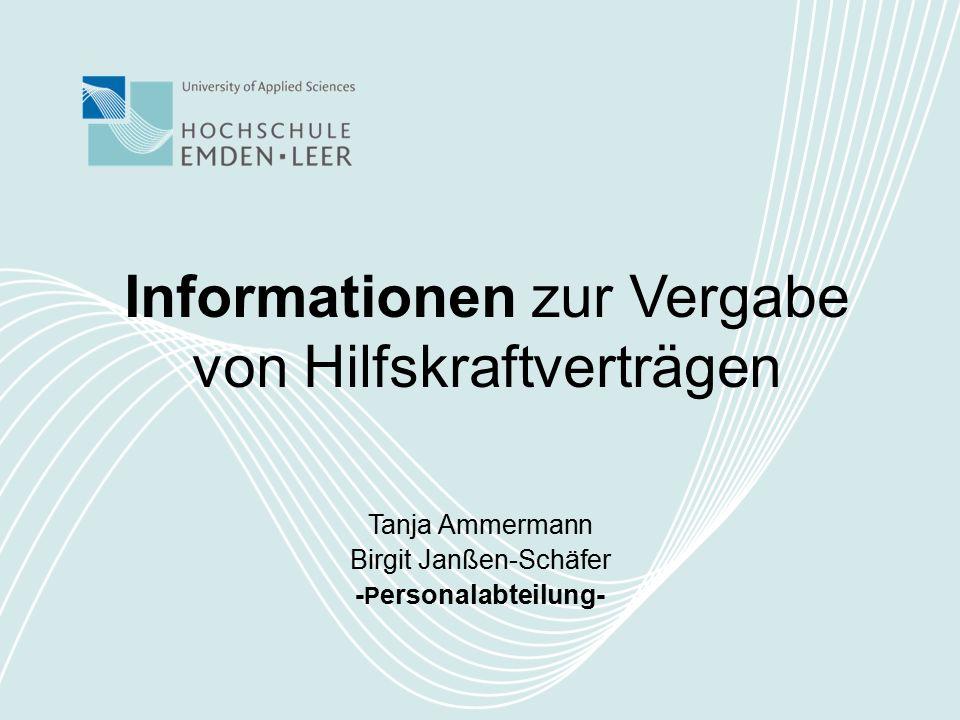 Informationen zur Vergabe von Hilfskraftverträgen