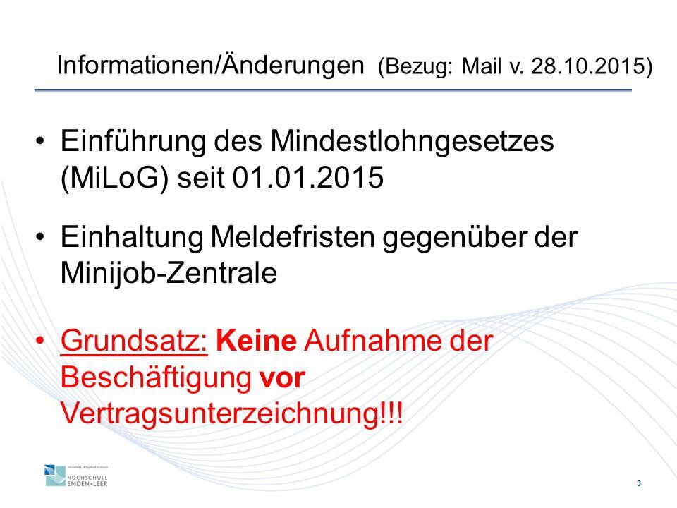 Informationen/Änderungen (Bezug: Mail v. 28.10.2015)