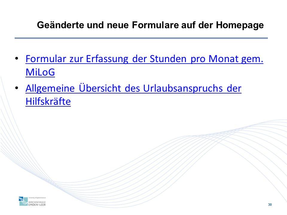 Geänderte und neue Formulare auf der Homepage