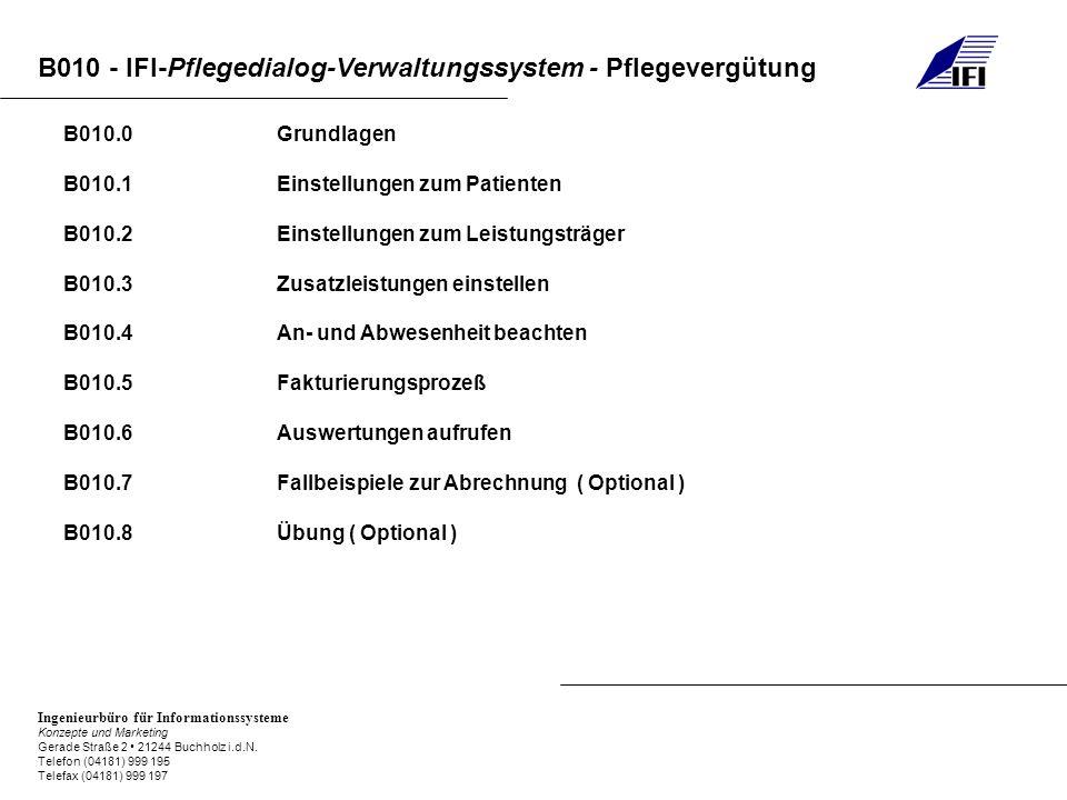 B010.0 Grundlagen B010.1 Einstellungen zum Patienten. B010.2 Einstellungen zum Leistungsträger.