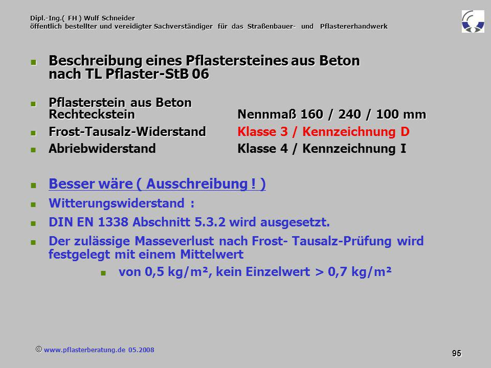Beschreibung eines Pflastersteines aus Beton nach TL Pflaster-StB 06