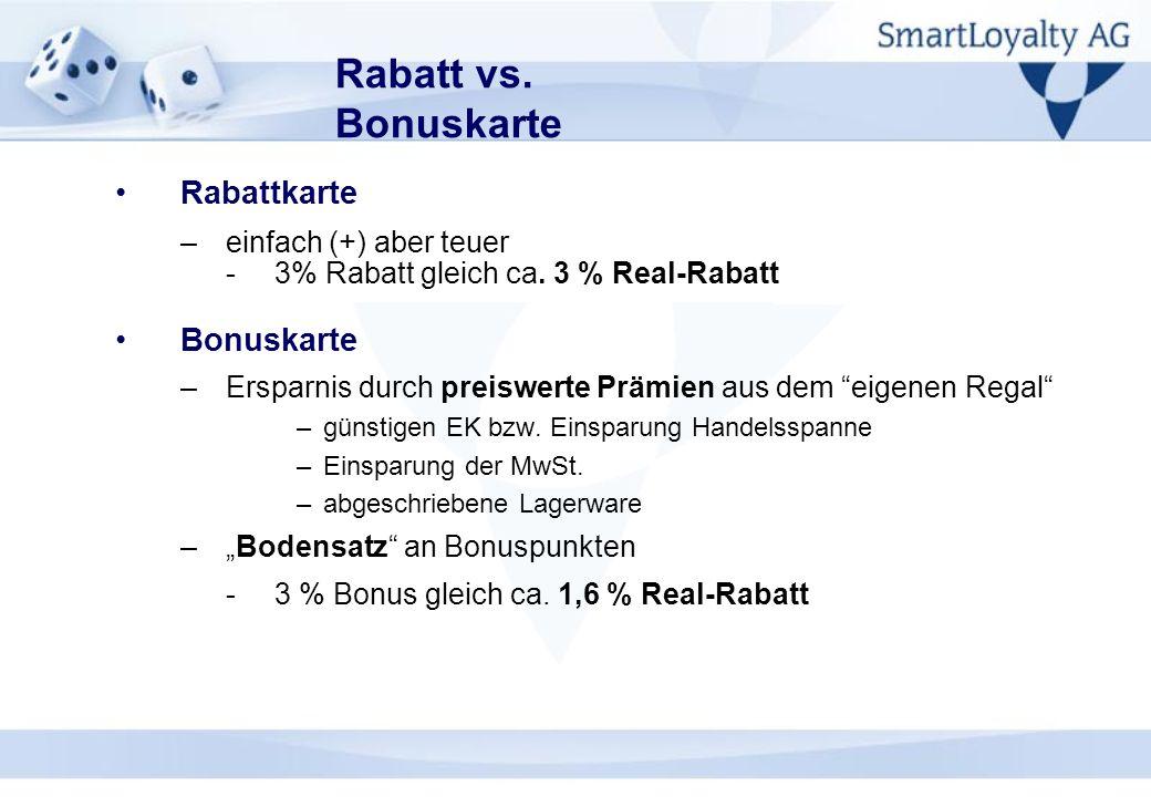 Rabatt vs. Bonuskarte Rabattkarte Bonuskarte einfach (+) aber teuer