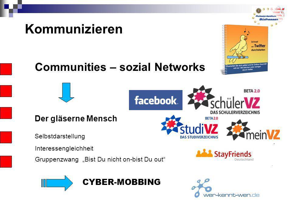 Kommunizieren Communities – sozial Networks Der gläserne Mensch