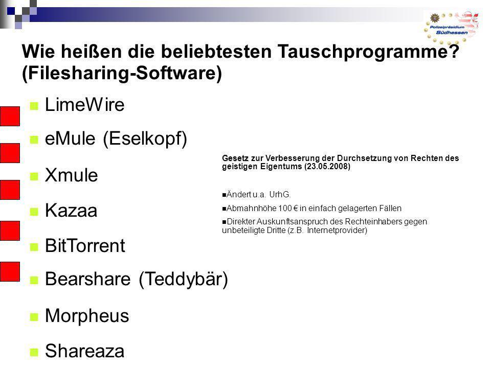 Wie heißen die beliebtesten Tauschprogramme (Filesharing-Software)