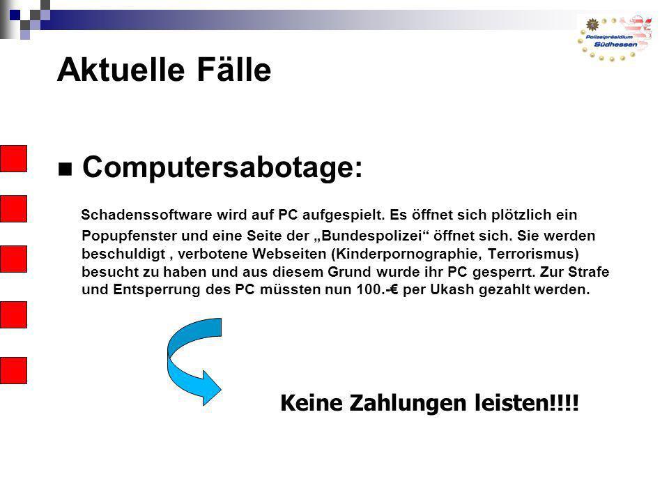 Aktuelle Fälle Computersabotage: