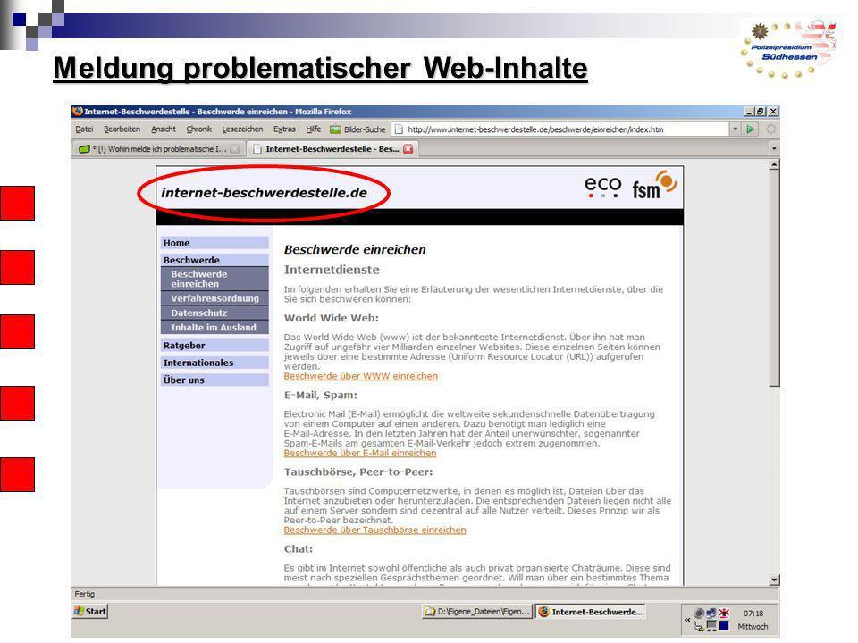 Meldung problematischer Web-Inhalte