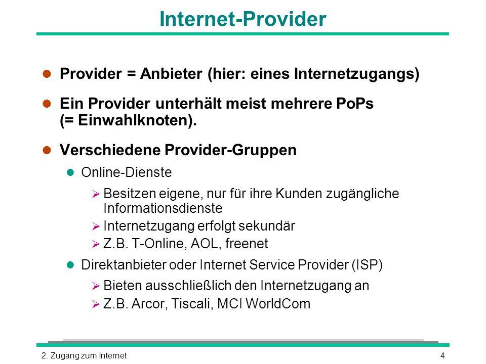 Internet-Provider Provider = Anbieter (hier: eines Internetzugangs)