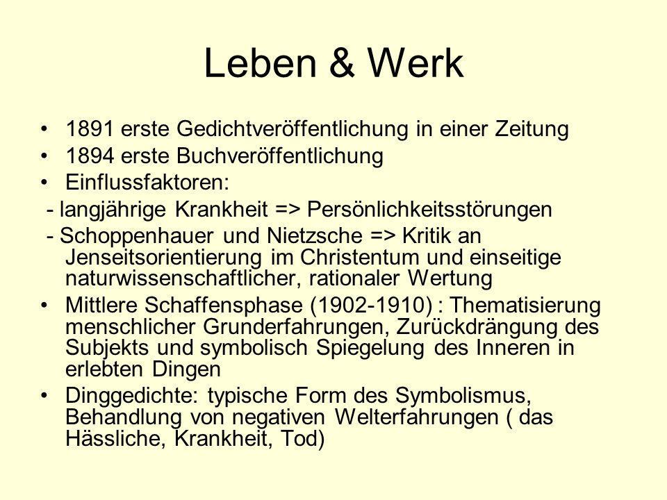 Leben & Werk 1891 erste Gedichtveröffentlichung in einer Zeitung