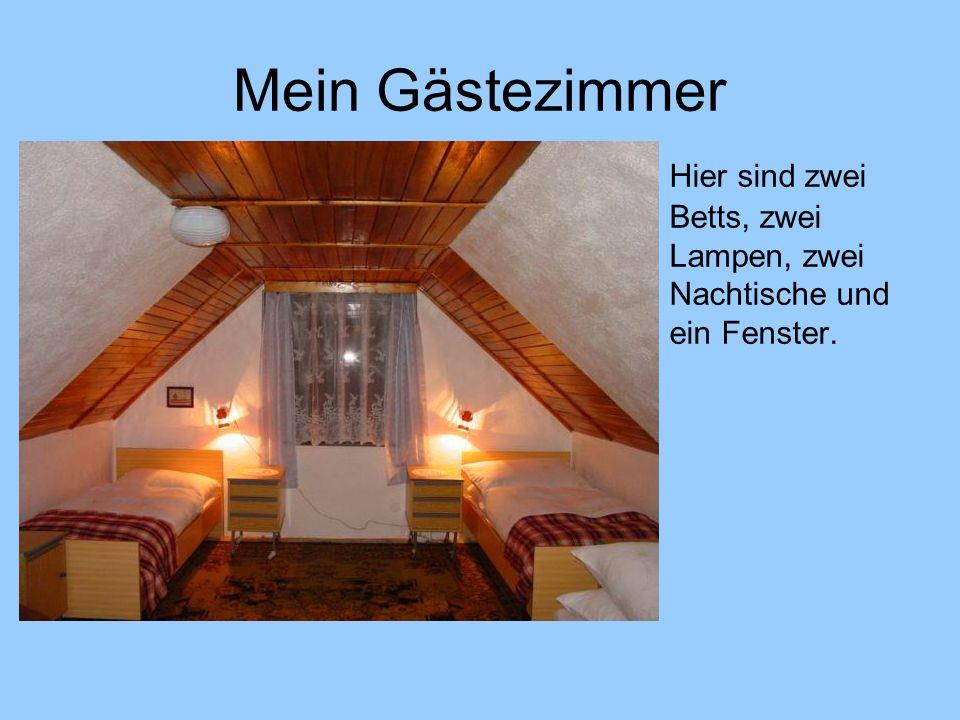 Mein Gästezimmer Hier sind zwei Betts, zwei Lampen, zwei Nachtische und ein Fenster.