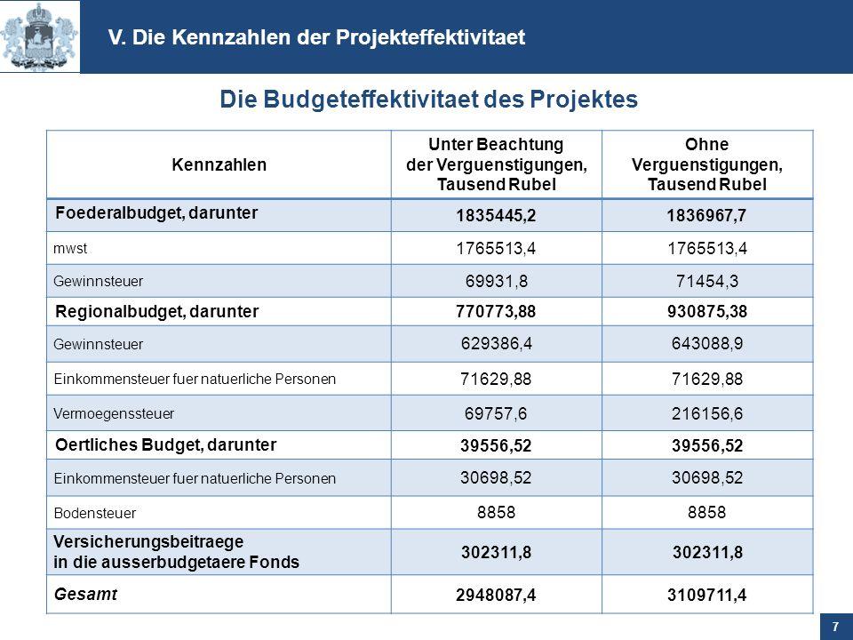 Die Budgeteffektivitaet des Projektes
