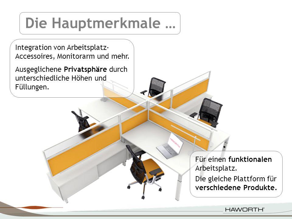 Die Hauptmerkmale … Integration von Arbeitsplatz-Accessoires, Monitorarm und mehr.