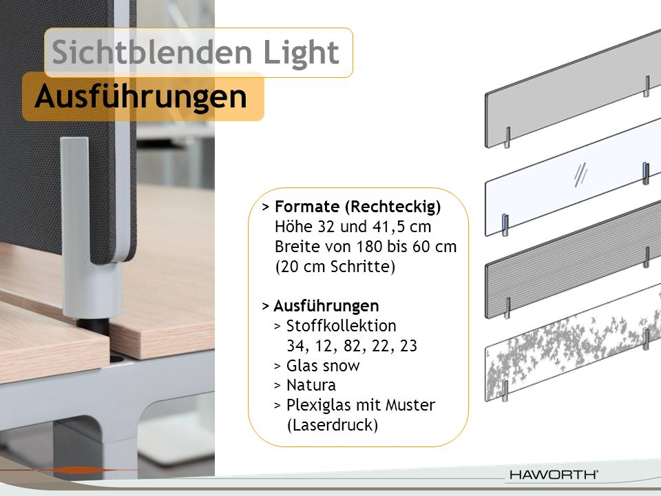 Sichtblenden Light Ausführungen > Formate (Rechteckig)
